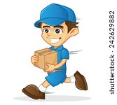 deliveryman running and holding ... | Shutterstock .eps vector #242629882