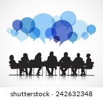 business conference with blue... | Shutterstock .eps vector #242632348