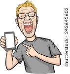 shouting man showing a mobile... | Shutterstock .eps vector #242645602