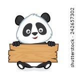 panda holding a plank of wood | Shutterstock .eps vector #242657302