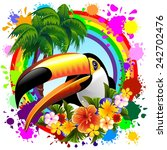 toucan on rainbow tropical frame | Shutterstock .eps vector #242702476