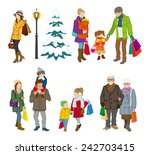 shopping people winter  family | Shutterstock .eps vector #242703415