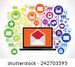 internet mail concept. loptop... | Shutterstock .eps vector #242703595