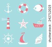 vector sea flat icons set | Shutterstock .eps vector #242712025