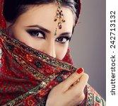 indian beauty face close up... | Shutterstock . vector #242713132