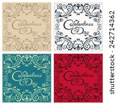 four vintage postcard with... | Shutterstock .eps vector #242714362