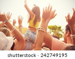 group of young people enjoying... | Shutterstock . vector #242749195