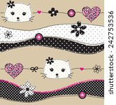 childish pattern with cat head... | Shutterstock .eps vector #242753536