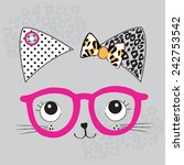 cute cat face with glasses... | Shutterstock .eps vector #242753542