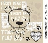 Cute Teddy Bear With Paw Vecto...