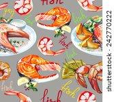 watercolor fish vector pattern | Shutterstock .eps vector #242770222