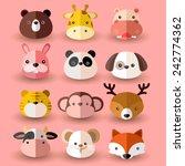 set of animal head  vector...   Shutterstock .eps vector #242774362