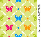 Stitches seamless butterfly pattern on grassy background - stock vector