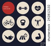 fitness icons set 3 vector...