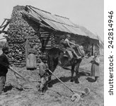 Small photo of African American farm family outside their log cabin home in North Carolina. Rural poverty persisted for several decades following abrupt emancipation of slaves in a post-Civil War South. Ca. 1903.