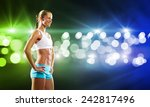 sport woman in shorts and top... | Shutterstock . vector #242817496