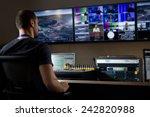tv engineer at editor in studio.... | Shutterstock . vector #242820988