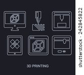 3d printing icon set showing...