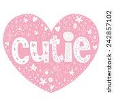 cutie heart shaped lettering...   Shutterstock .eps vector #242857102
