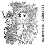 islam girl with flower vector | Shutterstock .eps vector #242868055