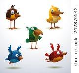 Set Of Funny Birds  Vector