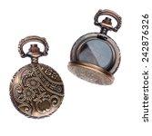 Small photo of Vintage Pocket Watch Metal Ornate Case - Locket
