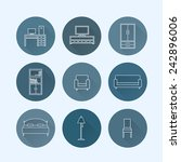 set of furniture icons | Shutterstock .eps vector #242896006