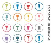 Alcohol Glasses Icon Set