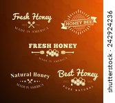 vector set of honey and bee... | Shutterstock .eps vector #242924236