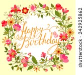beautiful  vintage card. floral ... | Shutterstock .eps vector #242925862