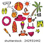 beach icon doodle vector | Shutterstock .eps vector #242931442