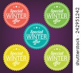 winter offer stickers. vector... | Shutterstock .eps vector #242951242