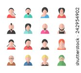 flat style avatar set. isolated ... | Shutterstock .eps vector #242954902