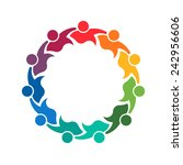 teamwork logo holding group of... | Shutterstock .eps vector #242956606