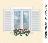 white window with shutters and... | Shutterstock .eps vector #242992642