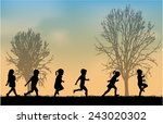 children silhouettes | Shutterstock .eps vector #243020302