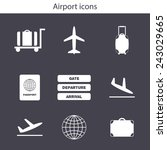 set of simple airport icons for ... | Shutterstock .eps vector #243029665