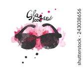 black color wayfarer sunglasses ... | Shutterstock .eps vector #243038656