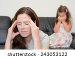 depressed young mother  age 30  ... | Shutterstock . vector #243053122