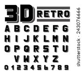 retro font. 3d extruded type... | Shutterstock .eps vector #243076666