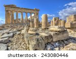 parthenon temple on the... | Shutterstock . vector #243080446