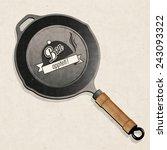 bon appetit  black frying pan.... | Shutterstock .eps vector #243093322