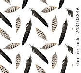 seamless pattern with feather... | Shutterstock .eps vector #243108346