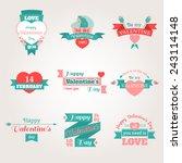set of happy valentine's day ... | Shutterstock .eps vector #243114148