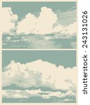 Set Of Clouds  Retro Engraving...