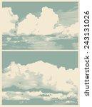 Set Of Clouds  Retro Engraving...