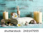 composition of spa treatment on ... | Shutterstock . vector #243147055
