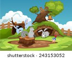 illustration of various animals ... | Shutterstock .eps vector #243153052