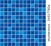 Blue Mosaic Tiles Texture With...
