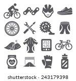 biking icons   Shutterstock .eps vector #243179398